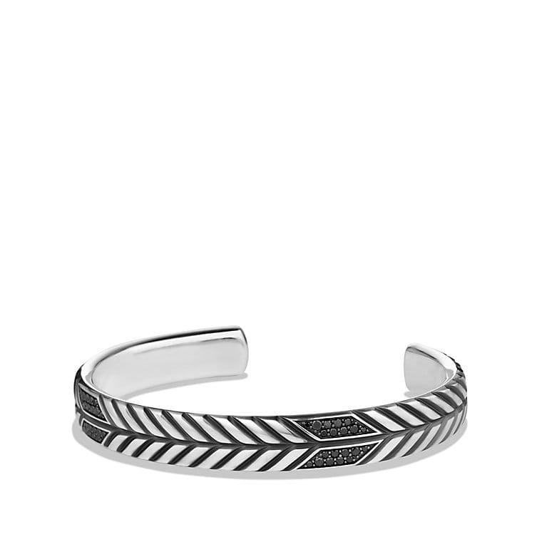 Modern Chevron Cuff Bracelet with Black Diamonds