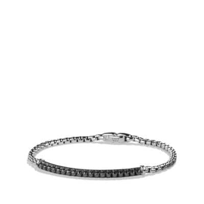 Pavé Box Chain ID Bracelet with Black Diamonds