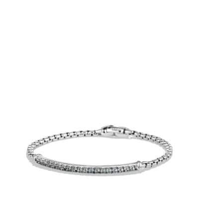 Pavé Box Chain ID Bracelet with Gray Sapphires