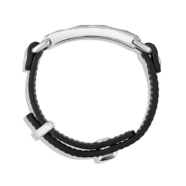 Meteorite Leather ID Bracelet in Black