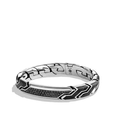 Forged Carbon ID Bracelet with Black Diamonds