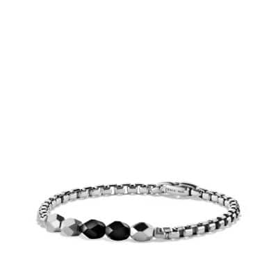 Faceted Metal Bead Bracelet with Black Onyx