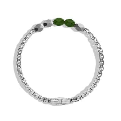 Faceted Metal Bead Bracelet with Jade