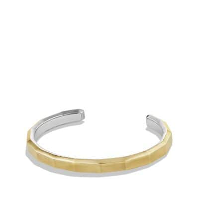 Faceted Metal Cuff Bracelet with 18K Gold