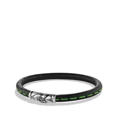 Chevron Leather Bracelet in Green