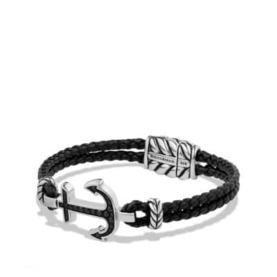 Pavé Anchor Bracelet with Black Diamonds