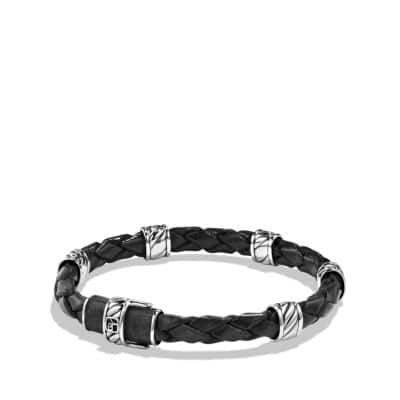 Cable Classic Leather Station Bracelet in Black
