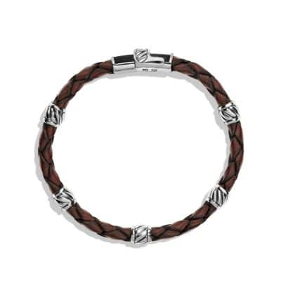 Leather Station Bracelet in Brown