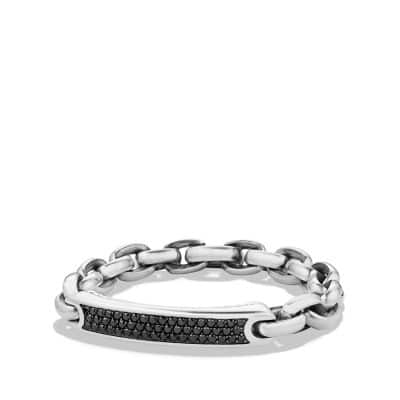 Pave Streamline ID Bracelet in Silver with Black Diamonds