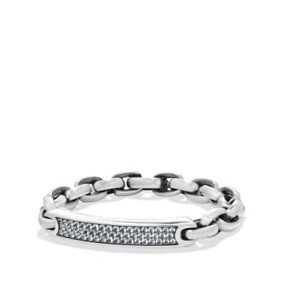Pave Streamline ID Bracelet in Silver with Gray Sapphire