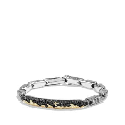 Pave ID Bracelet with 18K Gold and Black Diamonds