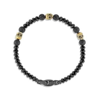 Skull Bracelet with Black Spinel and Black Diamond