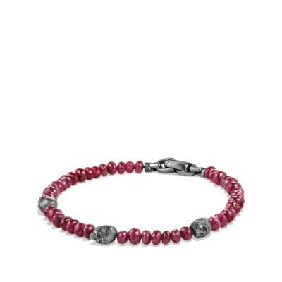 Spiritual Beads Skull Station Bracelet in Ruby