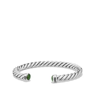 Cable Classic Cuff Bracelet with Jade,6mm