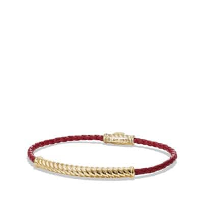 Leather Bracelet in Red with 18K Gold