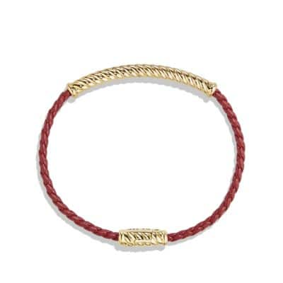 Cable Classic Leather Bracelet in Red with 18K Gold