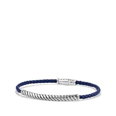 Cable Classic Leather Bracelet in Blue
