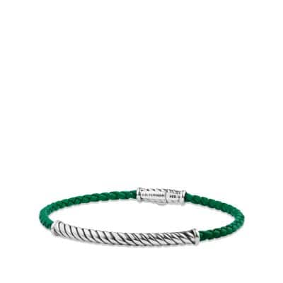 Cable Classic Leather Bracelet in Green