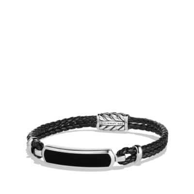 Station Black Leather Bracelet with Black Onyx