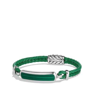 Exotic Stone Bar Station Bracelet in Green Leather with Malachite