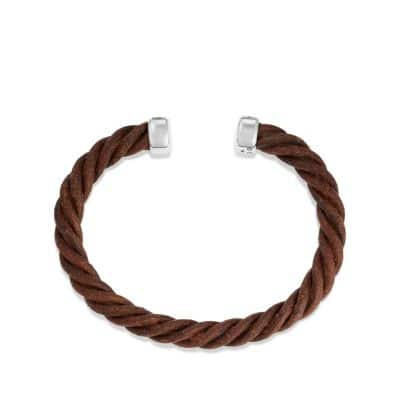 Cable Cuff Leather Bracelet in Brown, 6mm