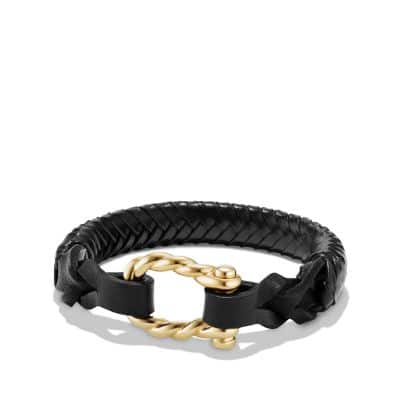Maritime Leather Woven Shackle Bracelet in Black Leather and 18K Gold