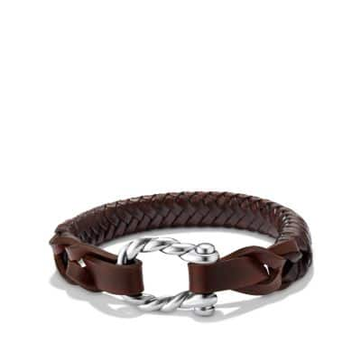 Maritime Leather Woven Shackle Bracelet in Brown