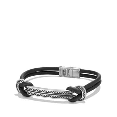Maritime Rubber Reef Knot ID Bracelet in Black