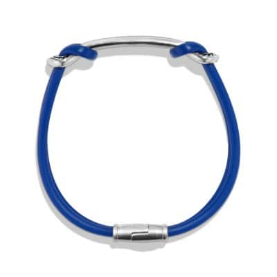 Maritime Rubber Reef Knot ID Bracelet in Blue
