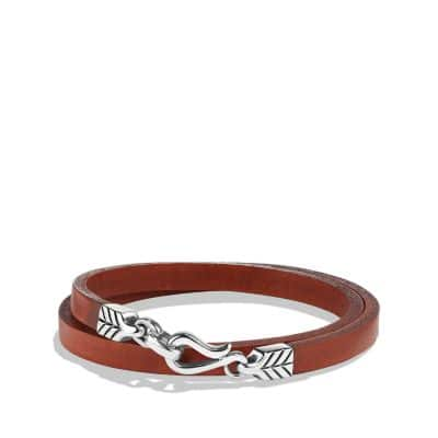 Chevron Double Wrap Leather Bracelet in Brown