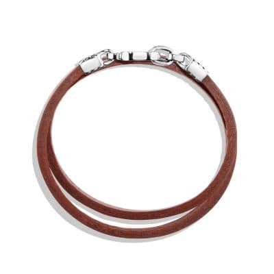 Double Wrap Leather Bracelet in Brown
