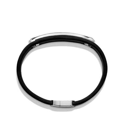 Graphic Cable Leather ID Bracelet in Black with Black Onyx