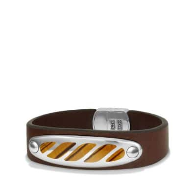 Graphic Cable Leather ID Bracelet in Brown with Tigers Eye