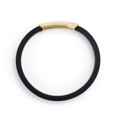 Forged Carbon Rubber ID Bracelet with 18K Gold