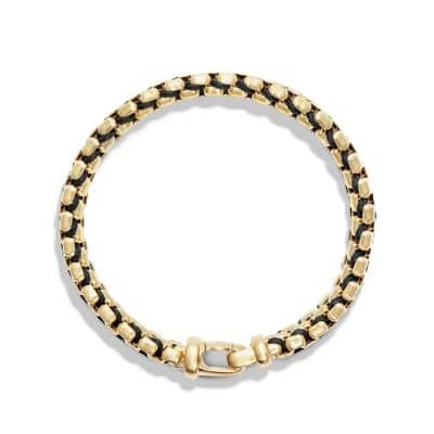 Woven Box Chain Bracelet in Black and 18K Gold