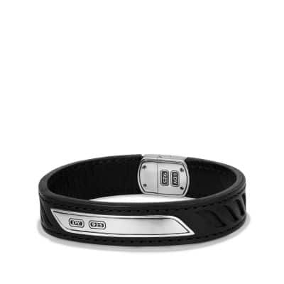 Graphic Cable Leather ID Bracelet in Black