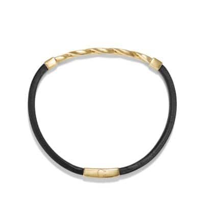Cable Classics Black Leather ID Bracelet with 18K Gold