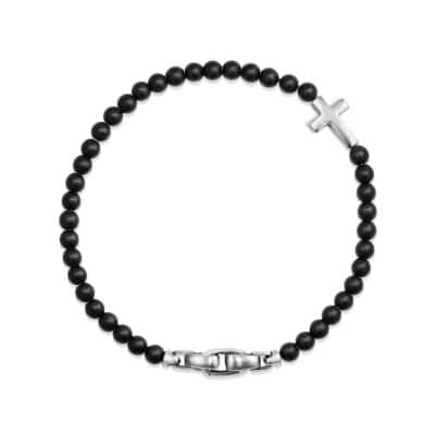 Spiritual Beads Cross Station Bracelet with Black Onyx