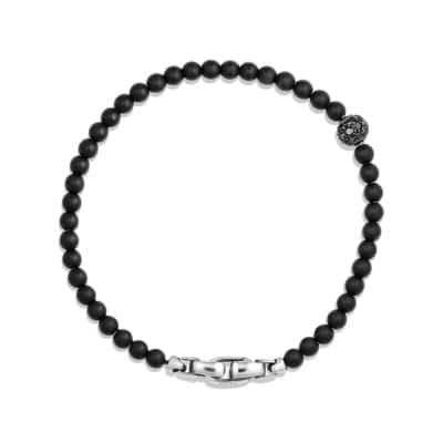 Spiritual Beads Pave Station Bracelet with Black Onyx and Black Diamonds