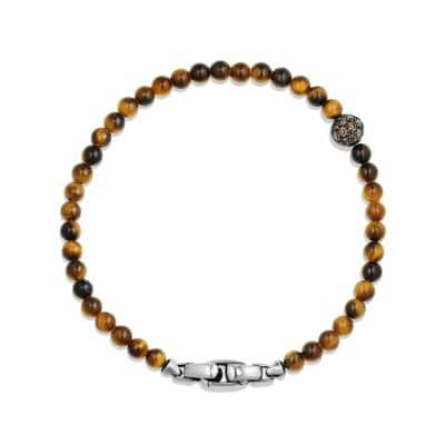 Spiritual Beads Pave Station Bracelet with Tigers Eye and Cognac Diamonds