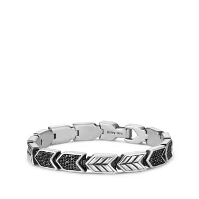 Chevron Link Bracelet with Black Diamonds, 9mm
