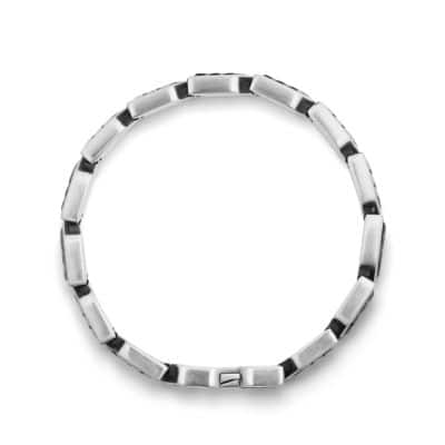 Chevron Link Bracelet with Black Onyx, 9mm