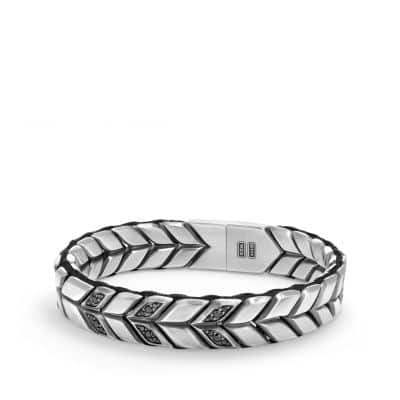 Chevron Woven Bracelet with Black Diamonds, 12mm