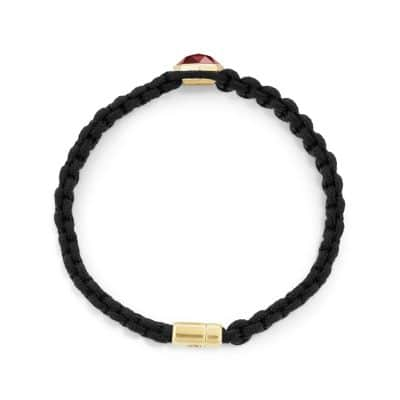DY Fortune Woven Station Bracelet with Garnet and 18K Gold, 11mm