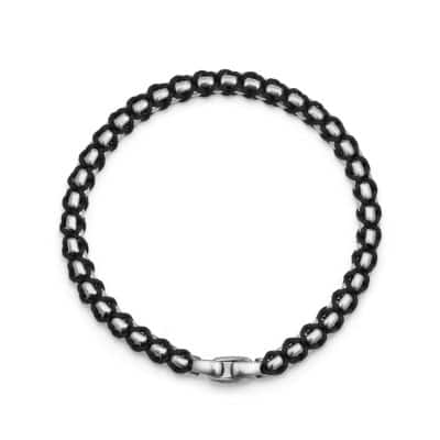 Woven Box Chain Bracelet in Black, 4.8mm