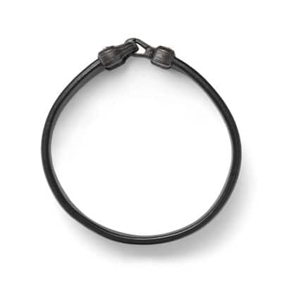 Anvil Wide Black Leather Bracelet, 18.5mm
