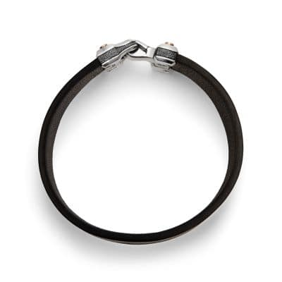 Anvil Wide Black Leather Bracelet with Bronze, 18.5mm