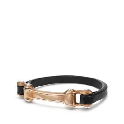 Anvil Narrow Black Leather ID Bracelet with Bronze, 6.5mm