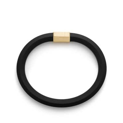 Hex Bracelet in Black with 18K Gold, 10.5mm