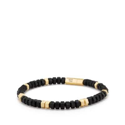 Hex Bead Bracelet with 18K Gold in Black